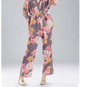Josie Natori PJ pants charcoal and hibiscus
